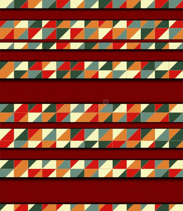 Ejemplo del vector con el mosaico y la madera stock de ilustración
