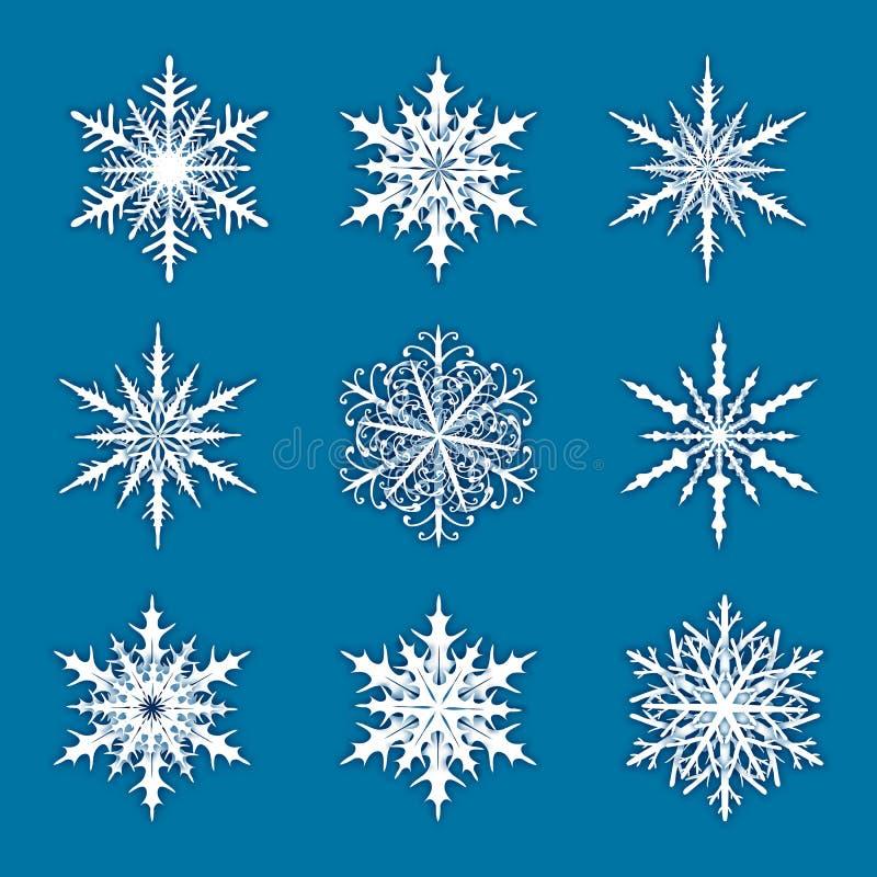 Ejemplo del vector con el sistema de copos de nieve en fondo azul ilustración del vector
