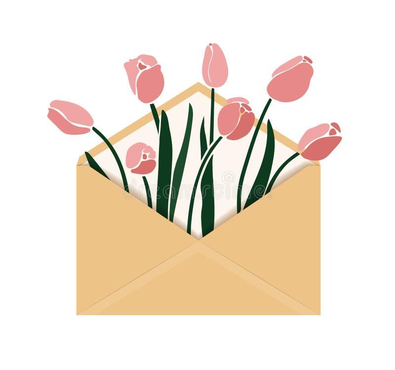 Ejemplo del vector con el tulipán en sobre fotos de archivo libres de regalías