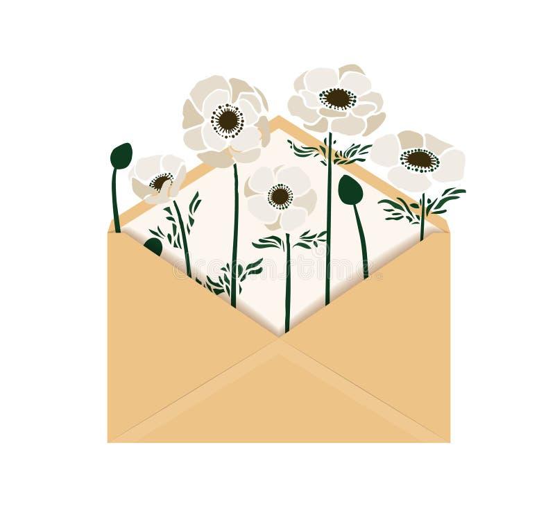 Ejemplo del vector con la anémona en sobre fotos de archivo libres de regalías