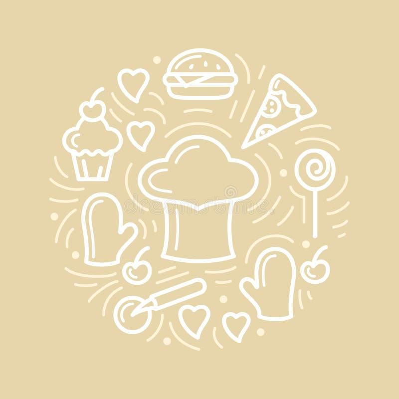 Ejemplo del vector con la comida, el casquillo del cocinero y los artículos adicionales stock de ilustración