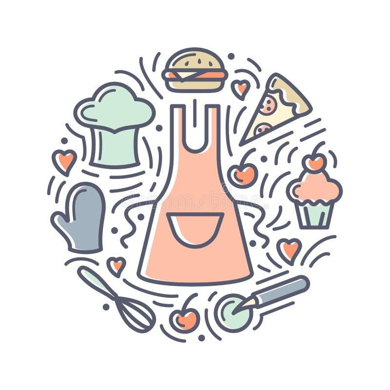 Ejemplo del vector con la comida, el delantal, el casquillo del cocinero y los artículos adicionales ilustración del vector