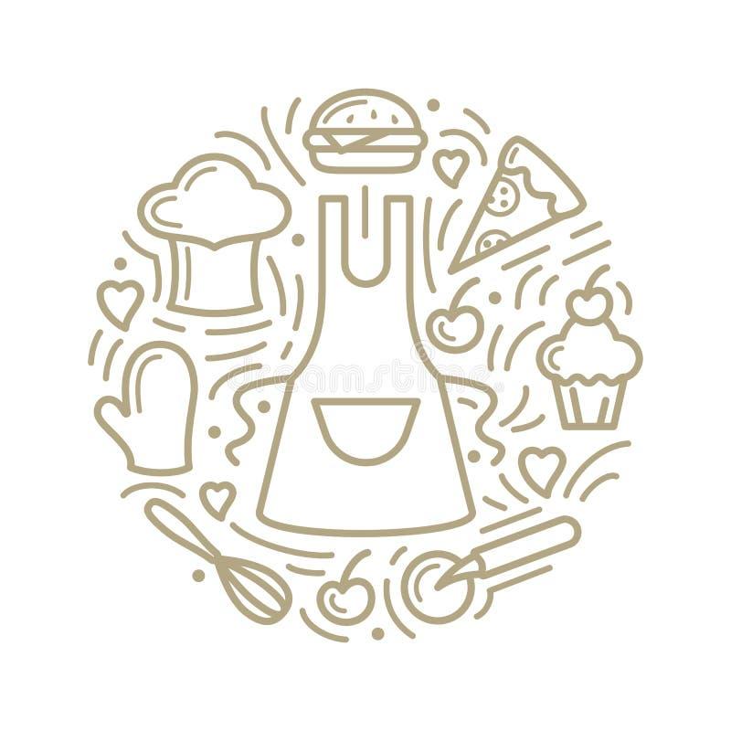 Ejemplo del vector con la comida, el delantal y los artículos adicionales ilustración del vector