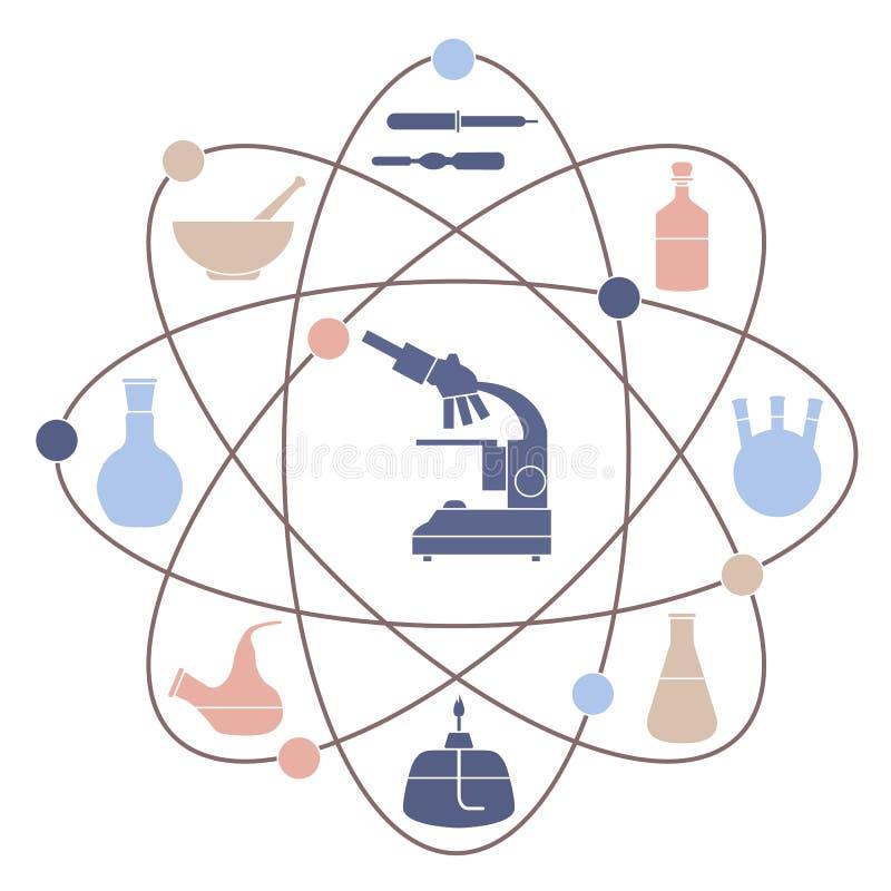 Ejemplo del vector con la estructura atómica, frascos de la cristalería, hornilla, microscopio libre illustration