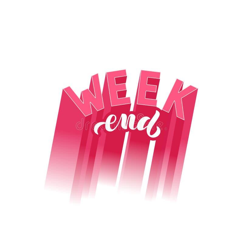 Ejemplo del vector con la frase manuscrita - fin de semana deletreado libre illustration