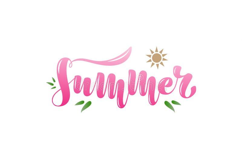 Ejemplo del vector con la frase manuscrita - verano Tipografía, letras, manuscritas libre illustration