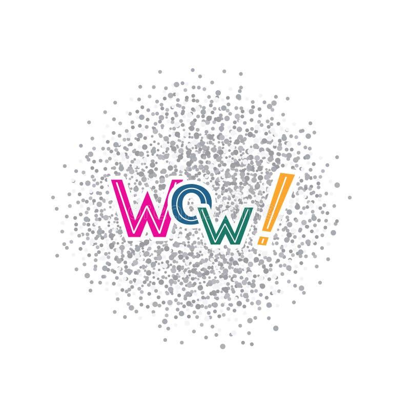 Ejemplo del vector con la frase manuscrita - wow deletreado ilustración del vector