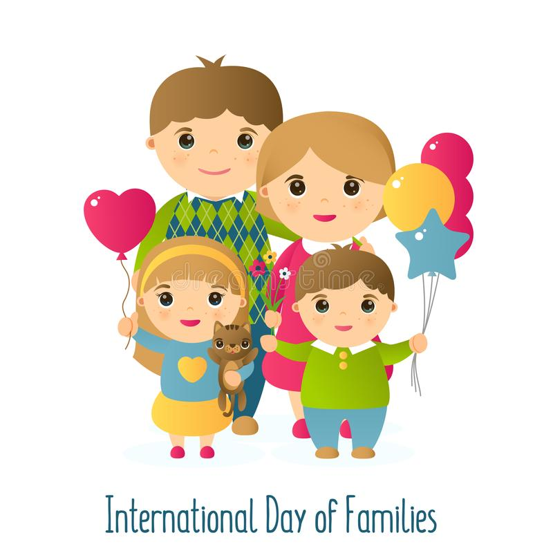 Ejemplo del vector con la imagen de la gente Una familia de cuatro miembros feliz y un gato Día internacional del día de fiesta d stock de ilustración