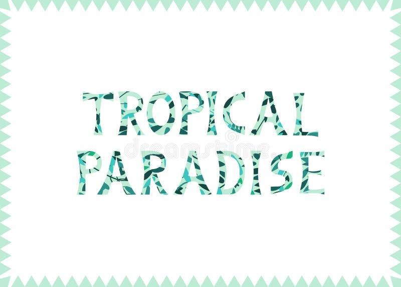 Ejemplo del vector con la inscripción de las hojas 'Paradise tropical en el fondo blanco foto de archivo libre de regalías