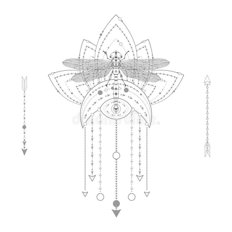 Ejemplo del vector con la libélula exhausta de la mano y símbolo sagrado en el fondo blanco Muestra mística abstracta ilustración del vector