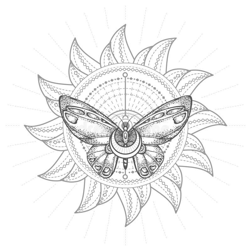 Ejemplo del vector con la mariposa exhausta de la mano y símbolo geométrico sagrado en el fondo blanco Muestra mística abstracta stock de ilustración