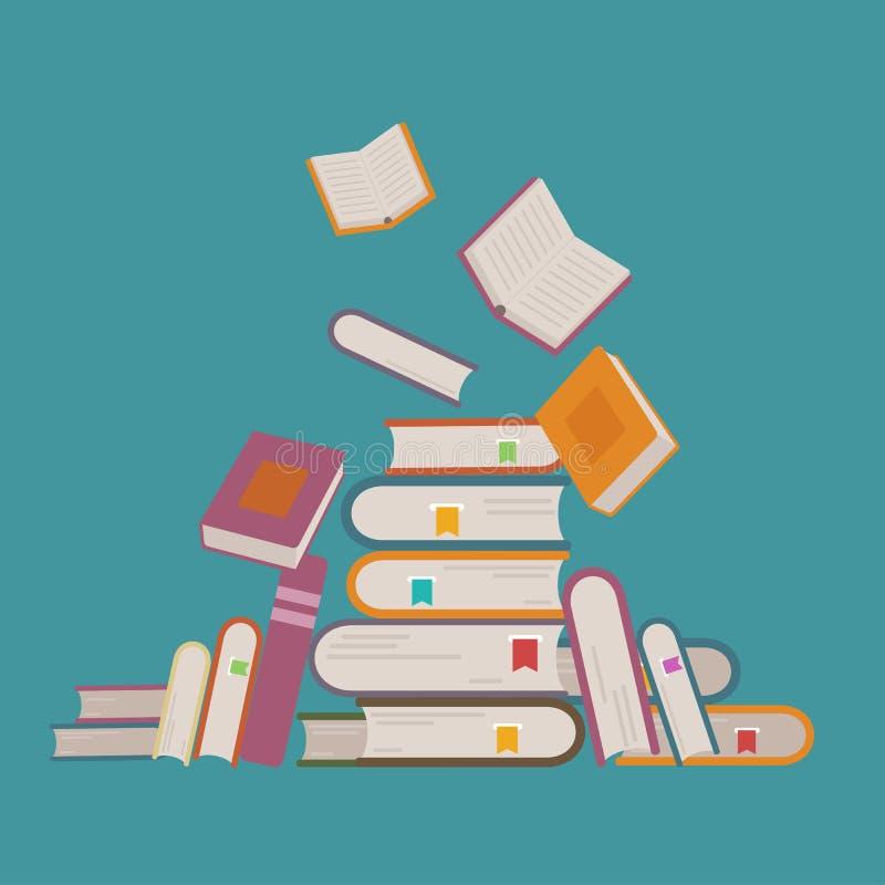 Ejemplo del vector con la pila de libros y de vuelo para arriba Concepto del aprendizaje y de la educación A mano libre illustration
