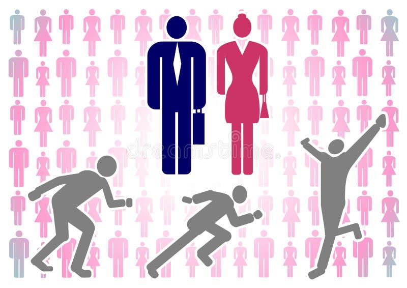 Ejemplo del vector con las siluetas coloridas de hombres y de mujeres en un fondo blanco, así como la figura de un hombre corrien ilustración del vector