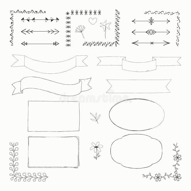 Ejemplo del vector con los elementos exhaustos del garabato de la mano: marcos, fronteras, cintas, flechas, flores aisladas en el ilustración del vector