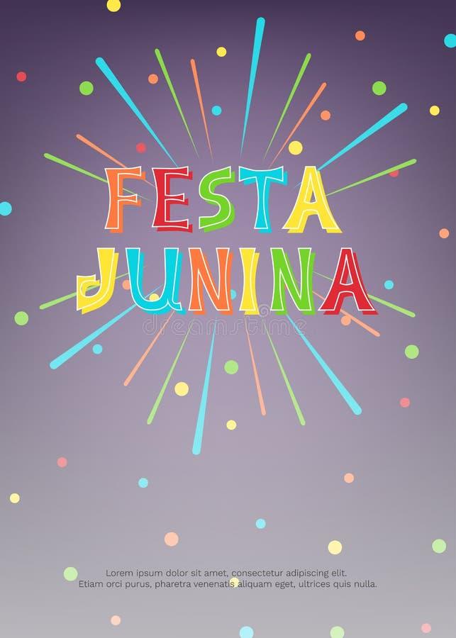 Ejemplo del vector con los fuegos artificiales, confeti e inscripción brillante Festa Junina en fondo oscuro libre illustration