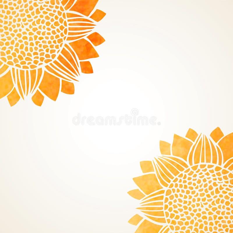 Ejemplo del vector con los girasoles de la acuarela libre illustration