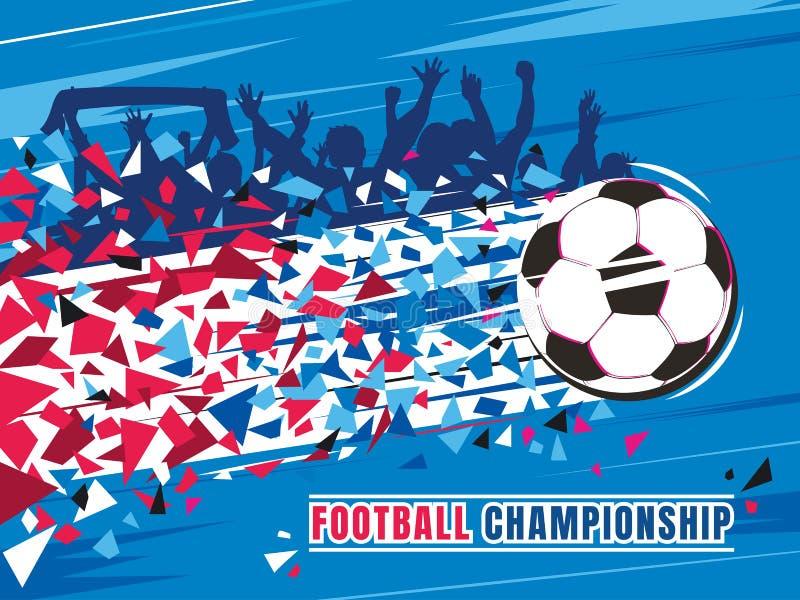Ejemplo del vector del concepto del campeonato del fútbol Balón de fútbol del vuelo con el rastro y las fans stock de ilustración