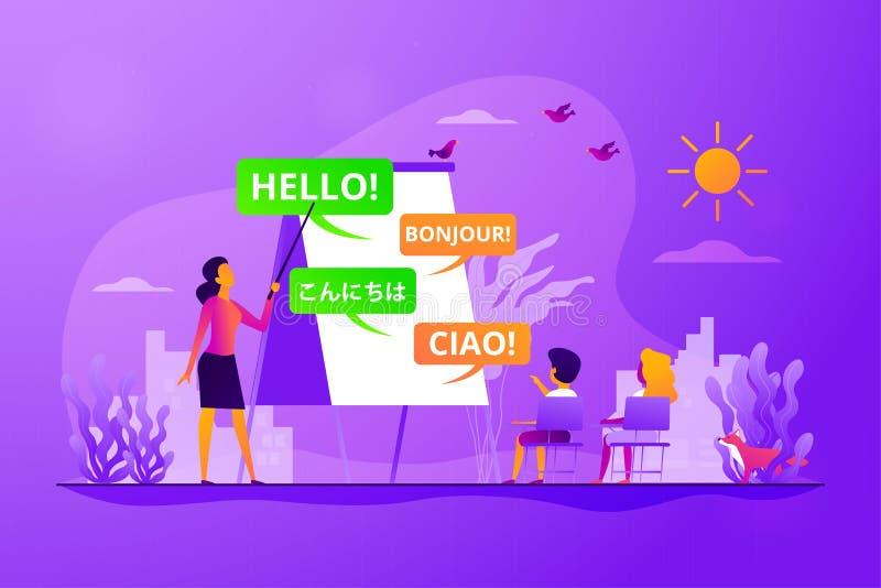 Ejemplo del vector del concepto del campo del aprendizaje de idiomas stock de ilustración