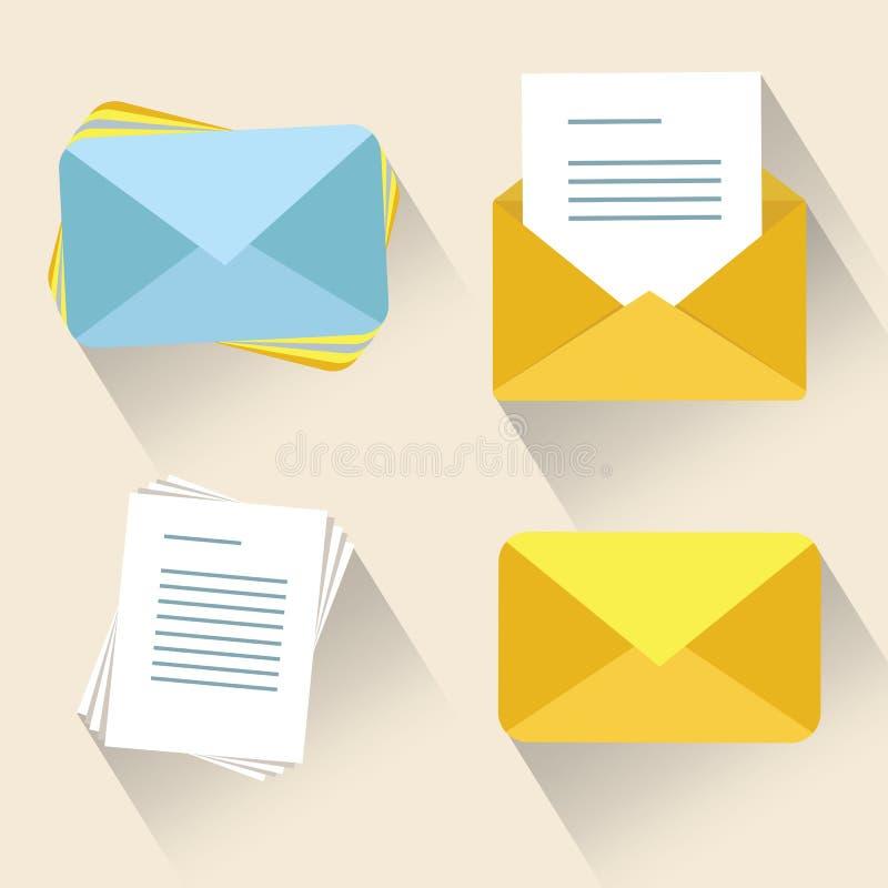 Ejemplo del vector del concepto del correo electrónico Icono del sobre del correo Inome y correos electrónicos y mensajes abierto libre illustration
