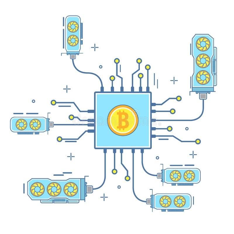 Ejemplo del vector del concepto de Bitcoin en estilo linear plano ilustración del vector