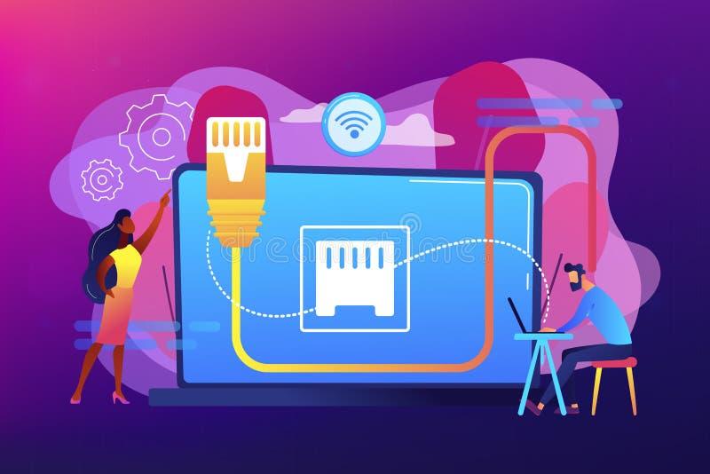 Ejemplo del vector del concepto de la conexi?n de Ethernet stock de ilustración
