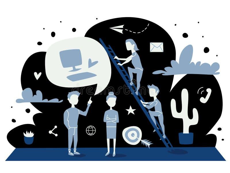 Ejemplo del vector del concepto de la estrategia gráfico plano azul de la gente que discute negocio, el trabajo y logros Historie ilustración del vector