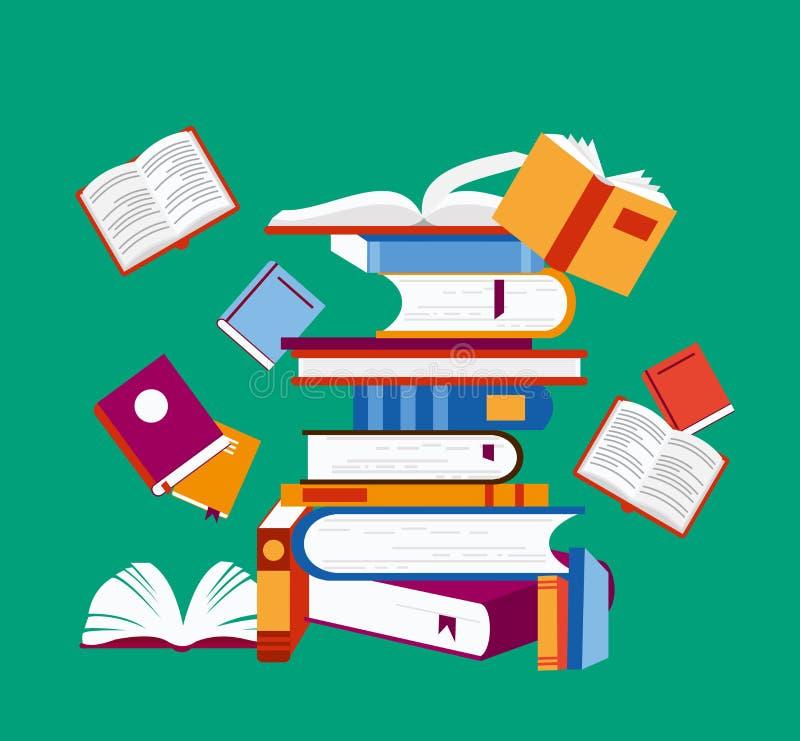 Ejemplo del vector del concepto de la lectura Muchos libros en el fondo verde, cartel en diseño plano de la historieta libre illustration