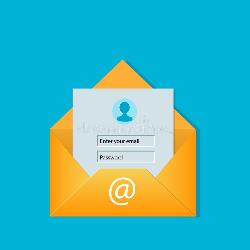 Ejemplo del vector del concepto de la pantalla de inicio de sesión del correo electrónico ilustración del vector