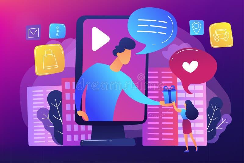 Ejemplo del vector del concepto de la publicidad interactiva stock de ilustración