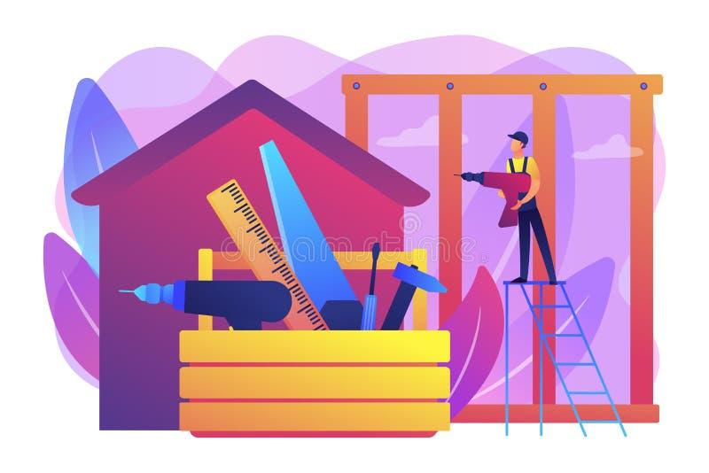 Ejemplo del vector del concepto de los servicios del carpintero stock de ilustración