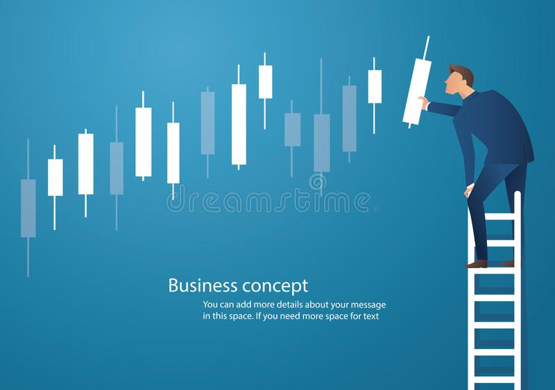 Ejemplo del vector del concepto del negocio de un hombre en escalera con el fondo de la carta de la palmatoria, concepto de merca ilustración del vector