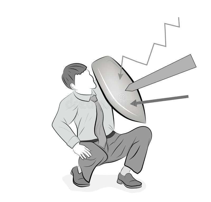 Ejemplo del vector del concepto del negocio de un hombre de negocios que se defiende con un escudo Riesgo, valor, dirección en co ilustración del vector