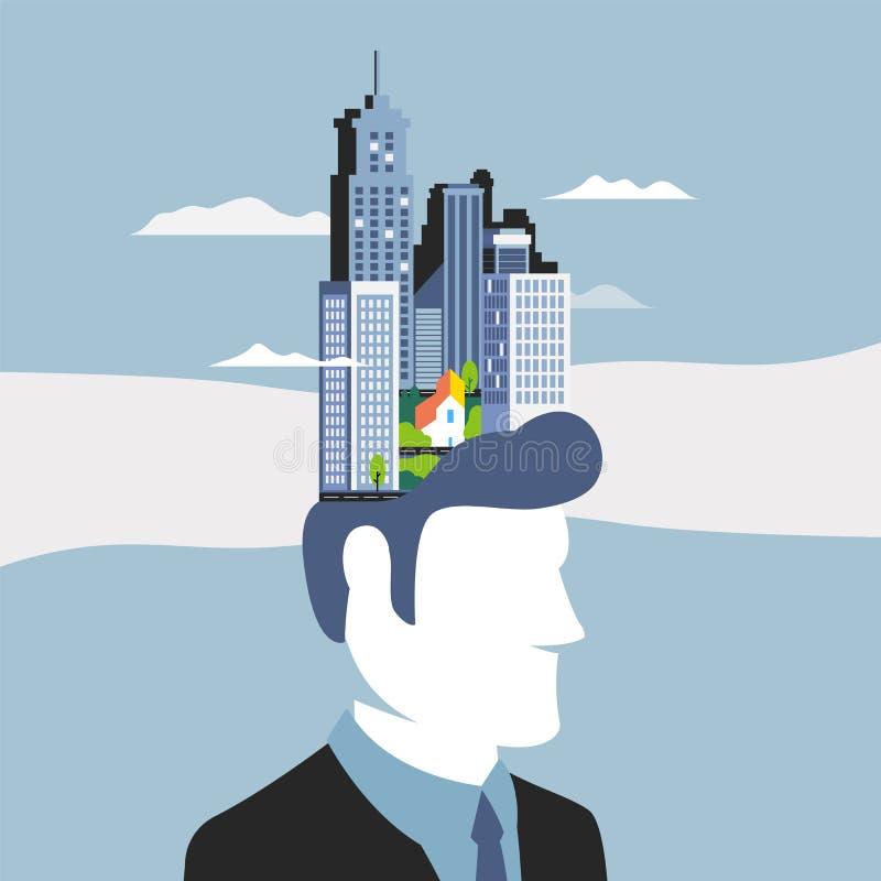 Ejemplo del vector del concepto del negocio, potencial del empleado y creatividad Mecanismo del cerebro, trabajador del pensamien libre illustration