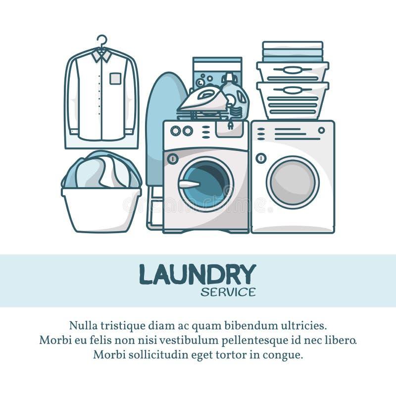 Ejemplo del vector del concepto del servicio de lavadero en estilo linear plano moderno stock de ilustración