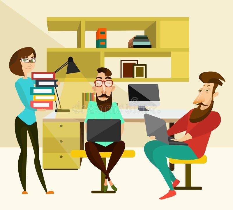 Ejemplo del vector del concepto del trabajo en equipo de la oficina stock de ilustración