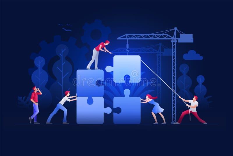 Ejemplo del vector del concepto del trabajo en equipo del negocio ilustración del vector