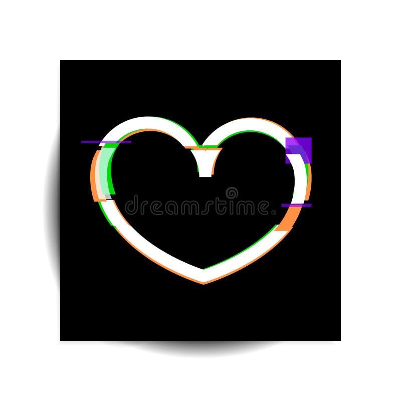 Ejemplo del vector del corazón Fondo moderno torcido del estilo de la interferencia ilustración del vector