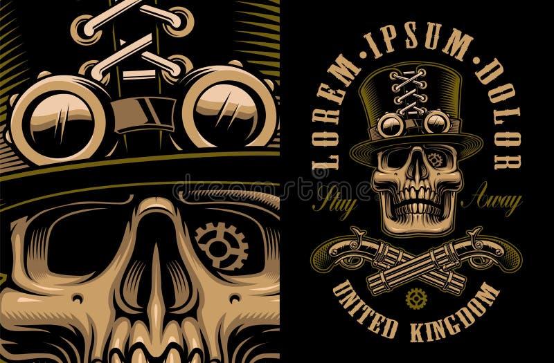 Ejemplo del vector del cráneo en sombrero en estilo del steampunk libre illustration