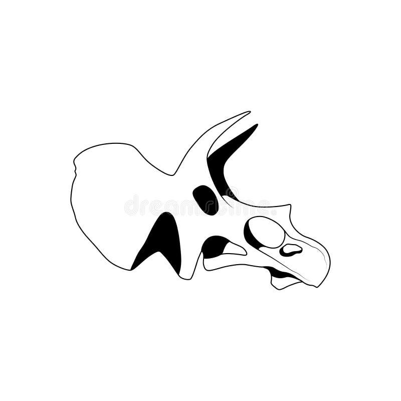 Ejemplo del vector del cráneo gráfico del triceratops stock de ilustración