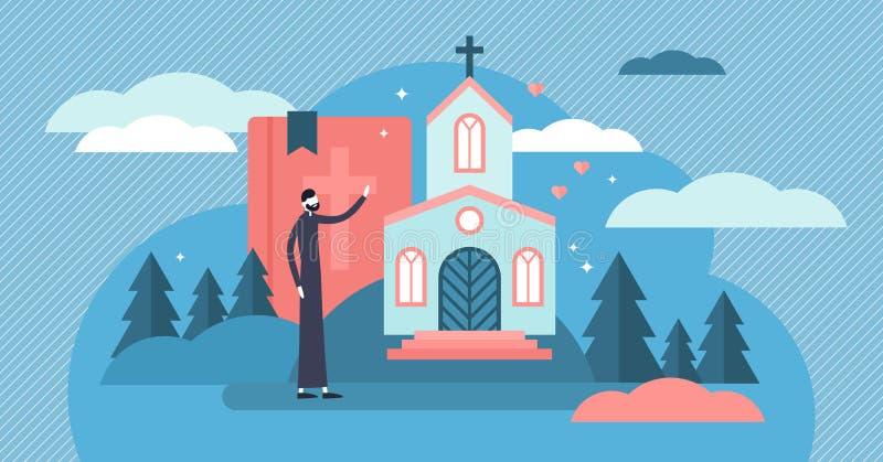 Ejemplo del vector del cristianismo Concepto santo minúsculo de las personas del sacerdote de la iglesia ilustración del vector