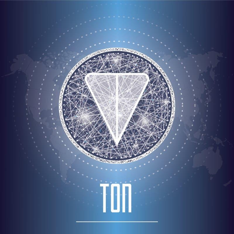 Ejemplo del vector del cryptocurrency de la TONELADA de la red abierta del telegrama ilustración del vector