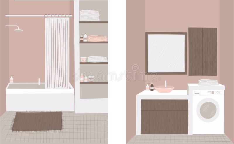 Ejemplo del vector del cuarto de baño Fije de dos dibujos del vector de cuartos de baño en colores en colores pastel calientes ilustración del vector