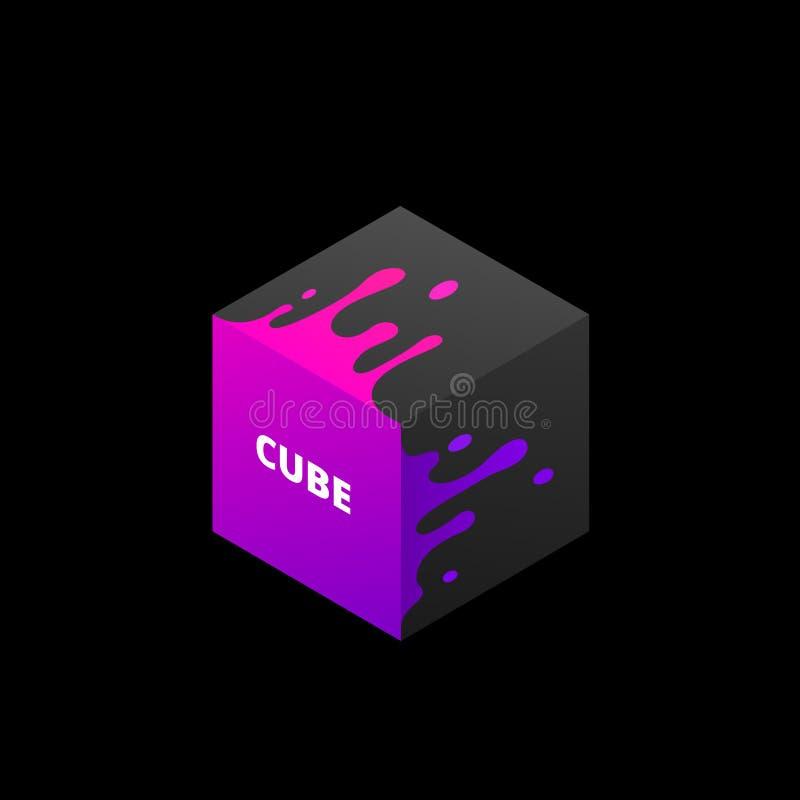 Ejemplo del vector del cubo coloreado extracto 3d libre illustration