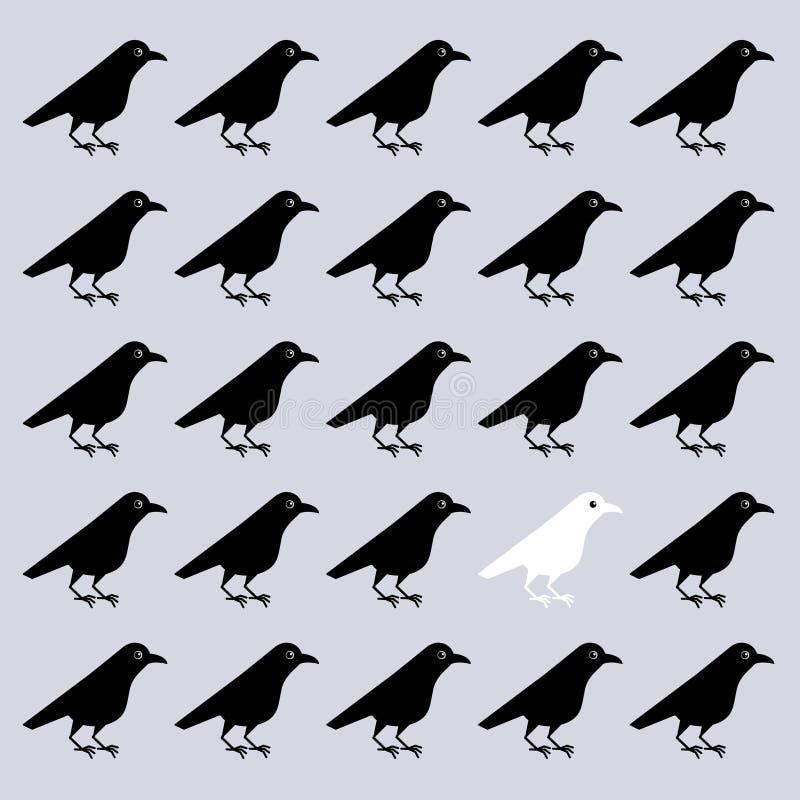 Ejemplo del vector del cuervo blanco entre cuervos negros, a diferencia de otros, el interés de los vecinos, inusual excepcional libre illustration