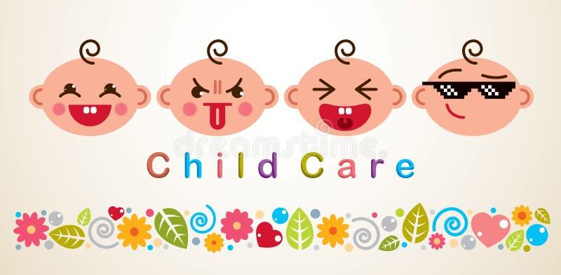 Ejemplo del vector del cuidado de niños con los bebés que muestran diverso emot ilustración del vector