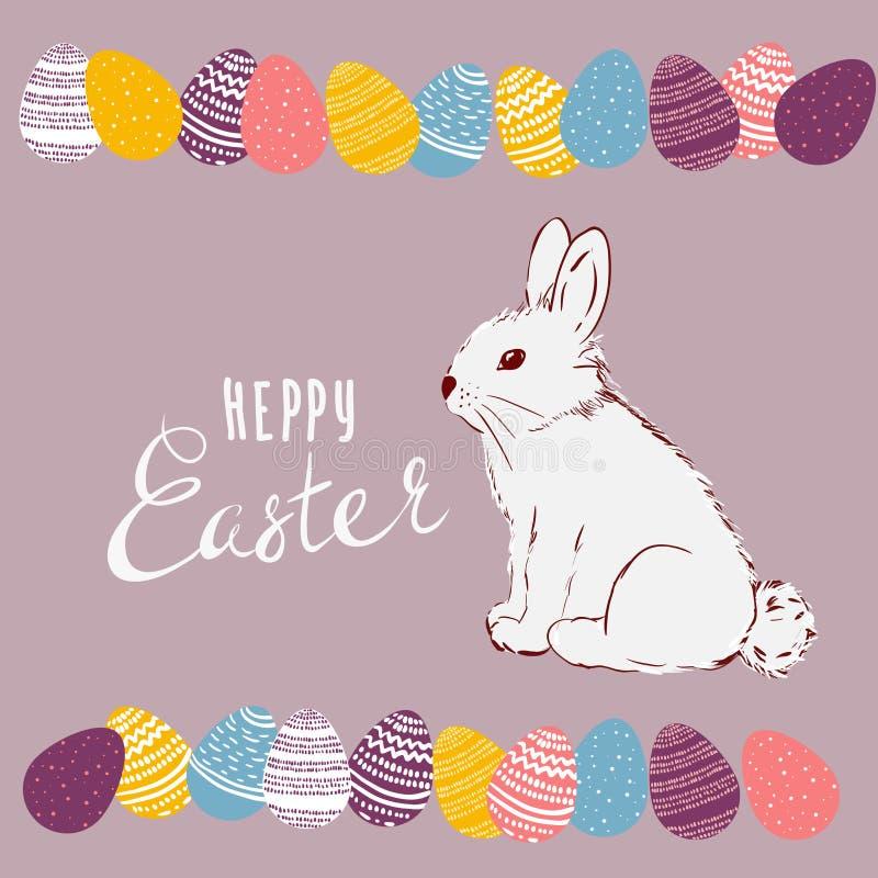 Ejemplo del vector del día de fiesta feliz de Pascua con el huevo pintado, conejo Diseño internacional de la celebración de la pr ilustración del vector