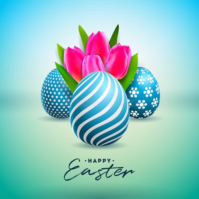 Ejemplo del vector del día de fiesta feliz de Pascua con el huevo y Tulip Flower pintados en fondo verde brillante internacional ilustración del vector