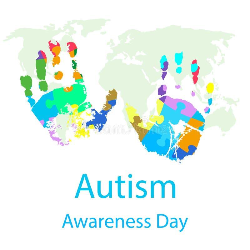 Ejemplo del vector del día de la conciencia del autismo del mundo stock de ilustración