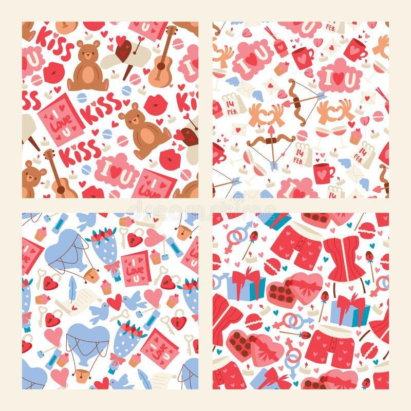 Ejemplo del vector del día de la tarjeta del día de San Valentín s Modelo inconsútil con los corazones, juguetes del oso, flores, stock de ilustración