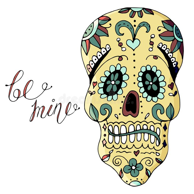 Ejemplo del vector del día de muerte en el símbolo de México del cráneo del azúcar del día de fiesta libre illustration